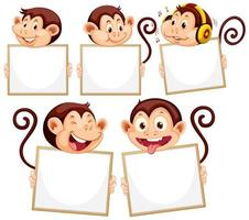 Blank sign template with monkeys on white background