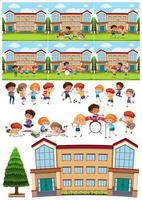 Many children learning and playing at school vector