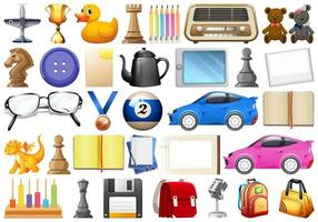 Assorted office, home and school related objects and toys vector