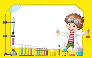 Frame template design with boy in science lab vector