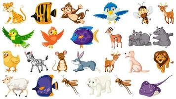 Set of isolated cartoon wild animals