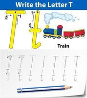 letter t tracing alfabet werkblad met trein
