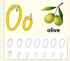 Letra o trazando la hoja de trabajo del alfabeto con aceitunas. vector