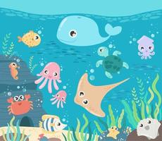 Fish and wild marine animals in ocean vector
