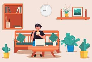 Man reading and working at home vector