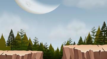 escena de fondo de luna y bosque al aire libre vector