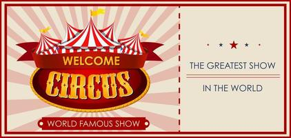 Circus, fun fair, amusement park theme ticket template vector