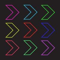 Neon styled arrow head symbols vector