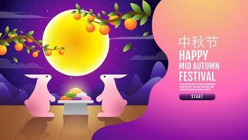 Happy mid autumn festival rabbits and moon landing page