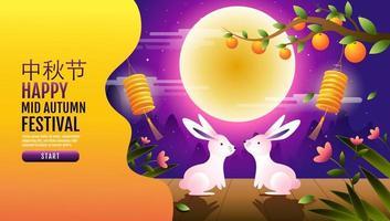 Happy mid autumn festival rabbits fantasy landing page