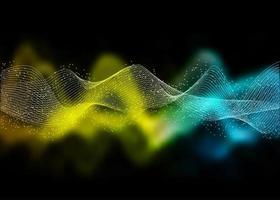 Flowing gradient waves on black vector
