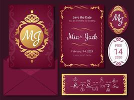 tarjeta de invitación de lujo y conjunto de adornos vintage