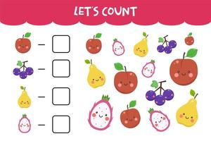 Counting game with cute fresh fruits vector