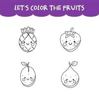 Coloring game kawaii happy fruits vector