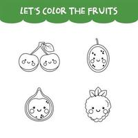 Coloring game kawaii fruits vector