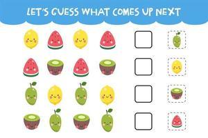 adivinhe o que vem no próximo jogo com frutas coloridas fofas vetor