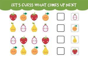 adivinhe o que vem no próximo jogo com lindas frutas frescas vetor