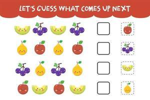 adivinhe o que vem no próximo jogo com frutas felizes fofas vetor