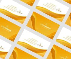 Abstract orange and white business card with waves
