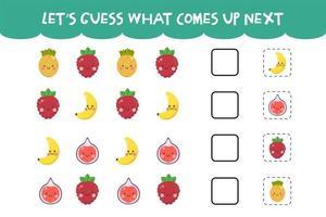 adivinhe o que vem no próximo jogo com frutas fofas vetor
