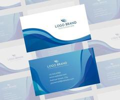 Blue and white flowing shape business card