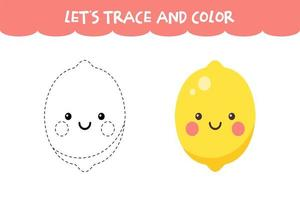 Trace and color cute Lemon educational worksheet vector
