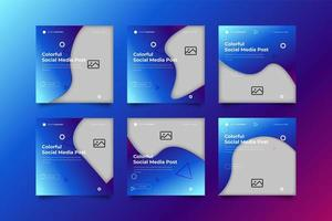 Square Gradient Blue Social Media Post Template Set