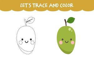 Trace and color cute Mango educational worksheet vector