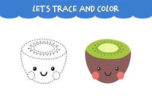 Trace and color cute Kiwi educational worksheet vector