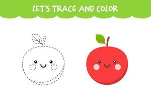 Trace and color cute Apple educational worksheet vector