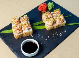 Sushi with wasabi and soy sauce