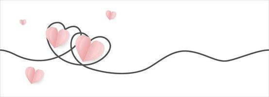 Banner de San Valentín con corazones de papel rosa y línea de doodle vector
