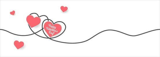 Banner de San Valentín con corazones cortados en papel y línea de doodle