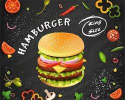sabroso cartel de hamburguesas y verduras de comida rápida vector