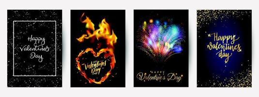 Happy Valentine's Day greeting card set vector