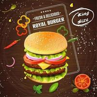 Fresh and delicious burger advertisement on wood