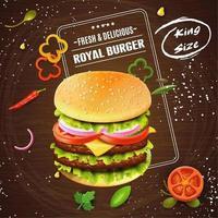 anuncio de hamburguesa fresca y deliciosa en madera