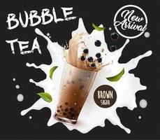 Anuncio de recién llegado de té de burbujas con salpicaduras de leche vector