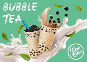 Tazas de té con leche de burbujas con anuncio de salpicaduras y hojas vector