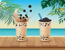 Bubble milk tea cups in tropical beach scene