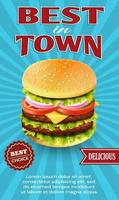 Best in town cheeseburger advertisement vector