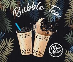 cartel de recién llegado de bubble tea con hojas tropicales