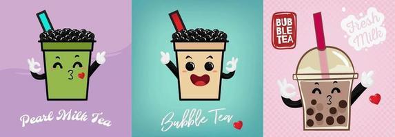 Hand drawn kawaii smiling bubble tea drinks set