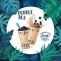 Anuncio de té de burbujas con marco circular y hojas tropicales