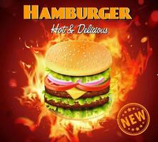 Deluxe king size burger ad with fire effect behind vector