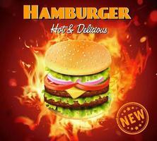 Anuncio de hamburguesa tamaño king de lujo con efecto fuego detrás vector