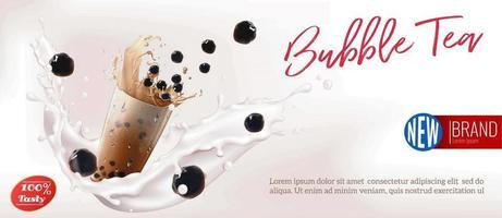 anuncio de salpicaduras de leche de té de burbujas vector