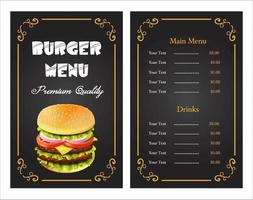 Elegant burger menu template vector