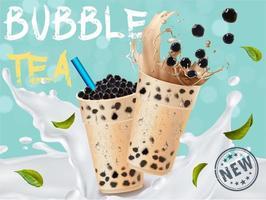 anuncio de salpicaduras de té de leche de burbujas vector