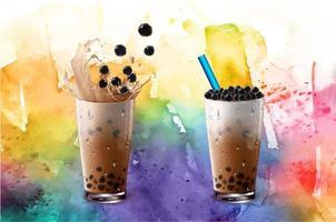Juego de té con leche de burbujas en textura colorida acuarela vector